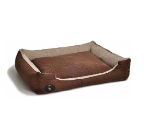 LAUREN design Kanapa CEZAR brązowa pikowana + beżowa 60/50 cm