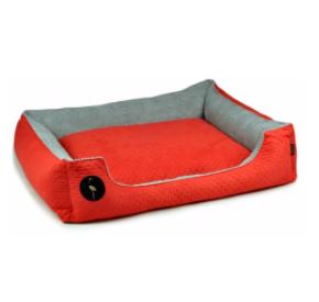 LAUREN design Kanapa CEZAR czerwona pikowana + szara 60/50 cm